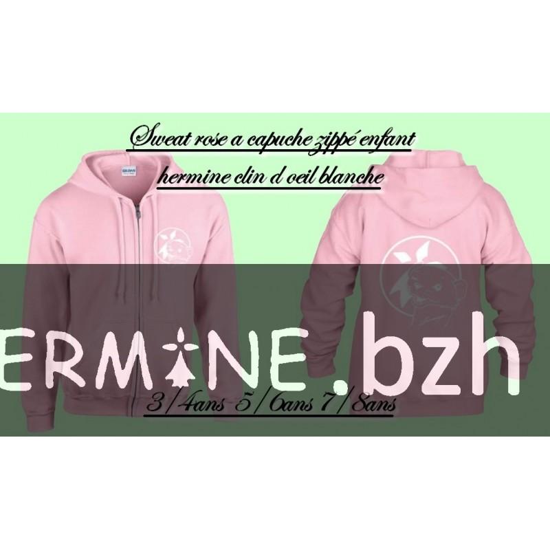 SWEAT ENFANT ROSE HERMINE CLIN D OEIL BLANCHE. Loading zoom 4fbce1e96576